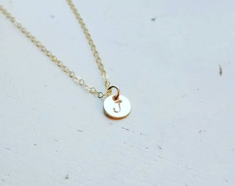 Tiny Gold Disc Initial Necklace - gold filled dot small circle round personalized charm hand stamped pendant gift - simple everyday jewelry