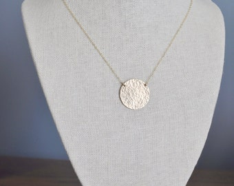 Hammered Gold Disc Necklace - gold filled round charm 1 inch handmade large circle pendant modern classic - simple everyday gold necklace