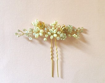 Anarkali - Bridal Hair Pin, Gold Ivory wedding