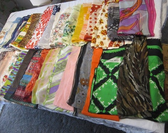 130 vintage scarves, sashes, and silk hankies - LARGE DESTASH lot - silk, nylon, polyester, and more
