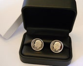 10 Year Anniversary Gift for Man, Dime Cufflinks: 10th Wedding for Him Husband, 2017 GEM CAMEO PROOF Dimes, 2007 Wedding, Aluminum Tin Tenth