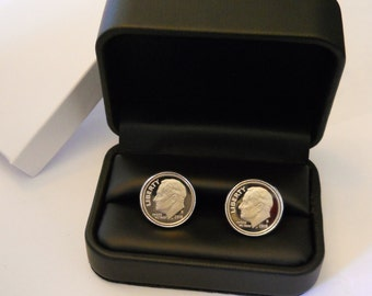 10 Year Anniversary Gift for Man, Dime Cufflinks: 10th Wedding for Him Husband; 2008 2018 GEM CAMEO PROOF Dimes, Mens Aluminum Tin Tenth Ten