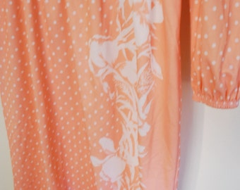 Vintage Floral Polka Dot Peach White Dress M L Medium Large Hawaii
