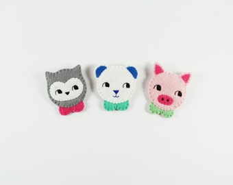 50% SALE Owl Brooch / Animal Brooch / Panda Felt Brooch / Panda Bear Brooch / Piggy Pin / Felt Pig Brooch / Animal with Peter Pan Collar Pin