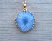 Solar Quartz Pendant, Blue Stalactite Necklace, Gold Druzy, Geode Slice, Bohemian Pendant, 24K Gold Vermeil, Large Stone Layering Necklace