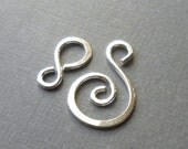 Two Sterling Silver Spiral Hook Clasps, Handmade Silver Findings