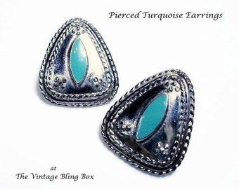 Trillion Shaped Silver Turquoise Pierced Earrings with Navette Cabochon Bezel Set in Silver Chased Metal - Vintage 60's Costume Jewelry