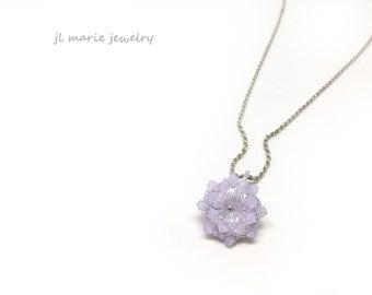pastel opal violet crystal necklace . pendant . swarovski . pastel . opaque violet . bridesmaid jewelry