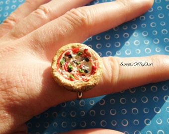 Pizza Ring Adjustable - Margarita/Meat Feast/Pepperoni/Vegetable/Supreme Whole Pizza - Food Jewelry - Handmade Polymer Clay