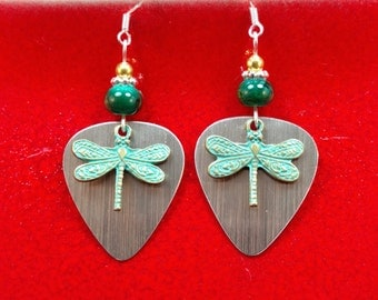 Dragonfly Silver Guitar Pic Earrings, Green Dragonfly Sterling Silver Earrings, Green Silver Pic Dragonfly Earrings, Dragonfly Earrings
