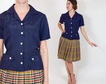 50s Navy Blouse | Short Sleeve Button Up Top | Medium