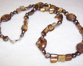 Brown Necklace, Brown Mother of Pearl Nugget Necklace, Brown Fresh Water Pearl Necklace