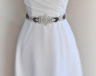 Delicate Rhinestone Velvet Sash, Pewter Crystal Bridal Sash, Velvet Wedding Belt, Grey Velvet Sash, Gray Velvet- SKYLAR