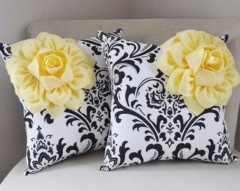 Housewarming Pillow Set - Victorian Damask Pillow - White Black Decorative Pillows - Damask Pillows -Home Decor - Light Yellow Flower Pillow