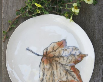 Ceramic Woodland Maple Leaf Hand Drawn Fine Art Plate One of a Kind Gift Idea Home Decor, Handmade Artisan Pottery by Licia Lucas Pfadt