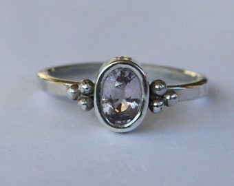 1.15 ct Natural Light Pink Sapphire Argentium Sterling Silver Ancient Roman Inspired Ring SZ 7