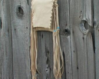 Fringed leather purse ,    Leather phone bag ,   Buckskin handbag , Leather handbag , Hippie bag , Small leather purse