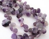 "Amethyst Teardrop Beads - Purple Pear Briolette Beads - Freeform Irregular Drops - Smooth Natural Gemstone - 15"" Strand - Diy Craft Beads"