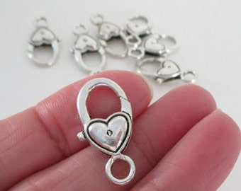 Antique Silver Lobster Clasp - Heart Shaped Lock Clasp - Extra Large - Metal Lobster Clasp - 27mmX12mm - Diy Craft Jewelry Findings - 6 Pcs