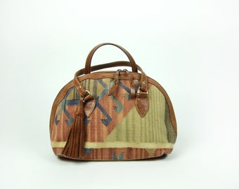 Vintage Kilim Tapestry Purse with Leather Strap and Tassle