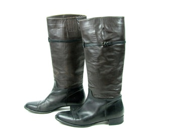 Wine and Black VIA SPIGA Riding Boots, Size 9 1/2 M, Made in Italy