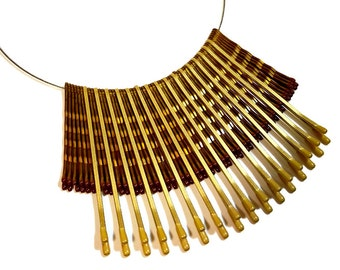 Tribal Necklace, Gold Statement Necklace, Upcycled Jewelry, Eco Chic, Tribal Chic, Bobby Pin