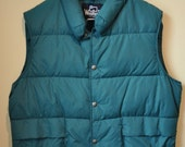 Vintage Mens Woolrich Green Puff Vest size Large