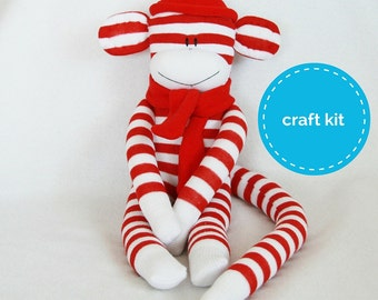 Stuffed toys, Sock Monkey Craft  Kit - Red and White Stripes, Toy Pattern