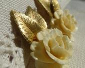 Signed Beautifully Detailed Krementz Carved Rose Screw Back Earrings