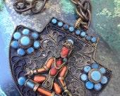 Reserved for Jody Johnson - Large and Strange Tibetan Buddha Nepalese Pendant – Antique 1930s Jewelry