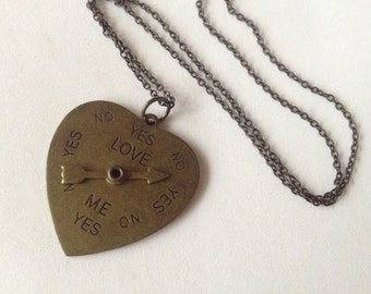 Loves Me Loves Me Not - Brass Heart Dial Pendant