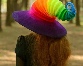 Halloween Wide Brim Rainbow Witch Hat. Wizard Costume Hat. Fantasy Hat. Cosplay Hat. LARP.