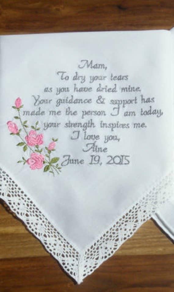 Wedding Gifts For Mom Getting Married : Wedding Gift Wedding Handkerchief Gifts for Mom Embroidered Wedding ...