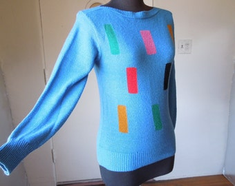 Vintage 70's Sweater, Long Sleeve Pullover, Knit, Blue, Black, Multicolor Geometric Print, XS to Small