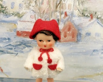 Ari East Germany Miniature Doll Soft Rubber Original Clothes Winter Coat Hat Pre WWII
