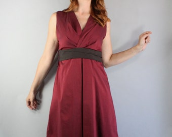 Summer Dress, Minimal, Sleeveless, Knee Length, Burgundy Brown, Wedding Guest, Day Dress, Spring, Cotton, Size Medium