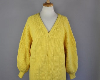 Vintage 80s Women's Bright Sunshine Yellow Dolman Sleeve Neon Fall Winter V Neck Sweater