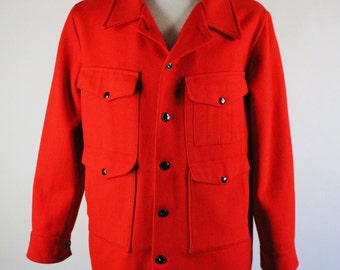 70s Hudson Bay Field Jacket. Wool Jacket. Red Button Coat. Fall Winter Coat. Vintage. Mens Size Large. GOGOVINTAGE. FREE SHIPPING