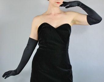 FREE SHIPPING Black Velvet Dress, Gothic, Strapless Dress, Bow, Little Black Dress, Bombshell, Pinup Party Dress, vlv, Size Medium