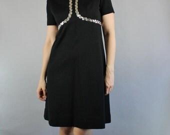 Vintage 60s Women's Black Silver Sequins Mod Short Sleeved Spring Summer Little Black Dress