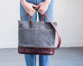 Wine Carrier in Slate Wax Canvas & Cordovan Leather