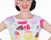 50's style The Sweet Life Dress, Kawaii, Icecream, Pinup, vintage reproduction, novelty print