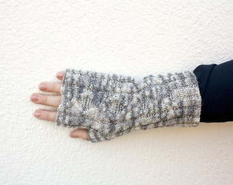 Long Fingerless Gloves, Hand Knitted Gloves, Gray melee Gloves with Cable, Gloves Men, One of a Kind Women's fashion, College Student Gift