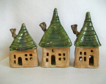 Fairy House/ Night Light - Squared Up  --  with a Green Roof -- 1 House - 1st House on the Left