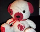 Crocheted Plushie :  Puppy - Red/White