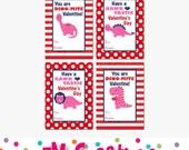 Printable Dinosaur Valentines Day Card - School Valentines Day Card - Valentines Day Printables -  Digital Dino Girl Valentines Card