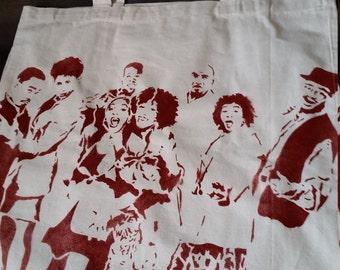 A Different World tv show art tote bag Hillman College original stencil and spray paint art by Rainbow Alternative