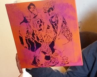 SALE Ready 2 Ship TLC street art painting music group original stencil and spray paint art by Rainbow Alternative