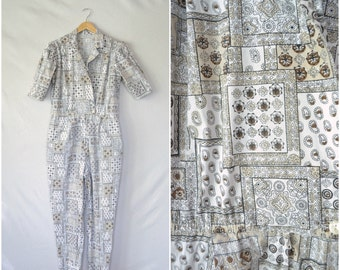 vintage workers coveralls / paisley cotton earth tone jumpsuit / xl