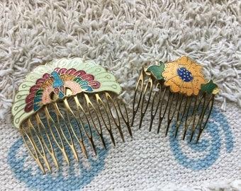 Vintage 1970's Cloisonne Hair Comb Lot - EPSTEAM - Bohemian Chic - Peacock & Floral - Hippie - Decorative Comb - Boho Chic - Wedding